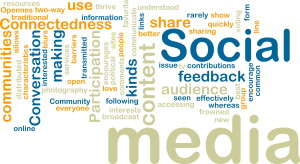 Word cloud tags concept illustration of social media