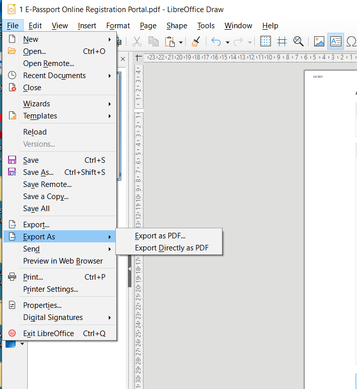 libre office export option