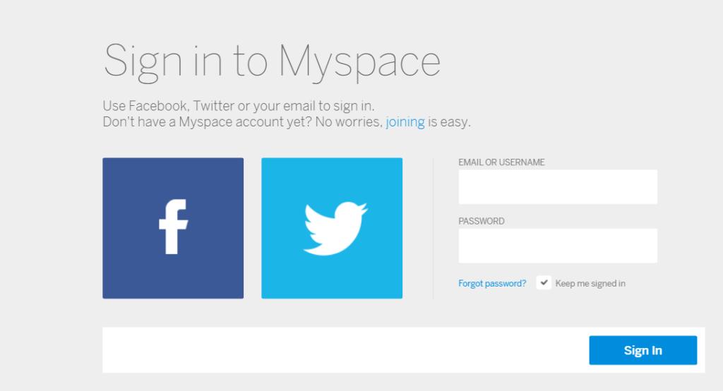 login option Myspace